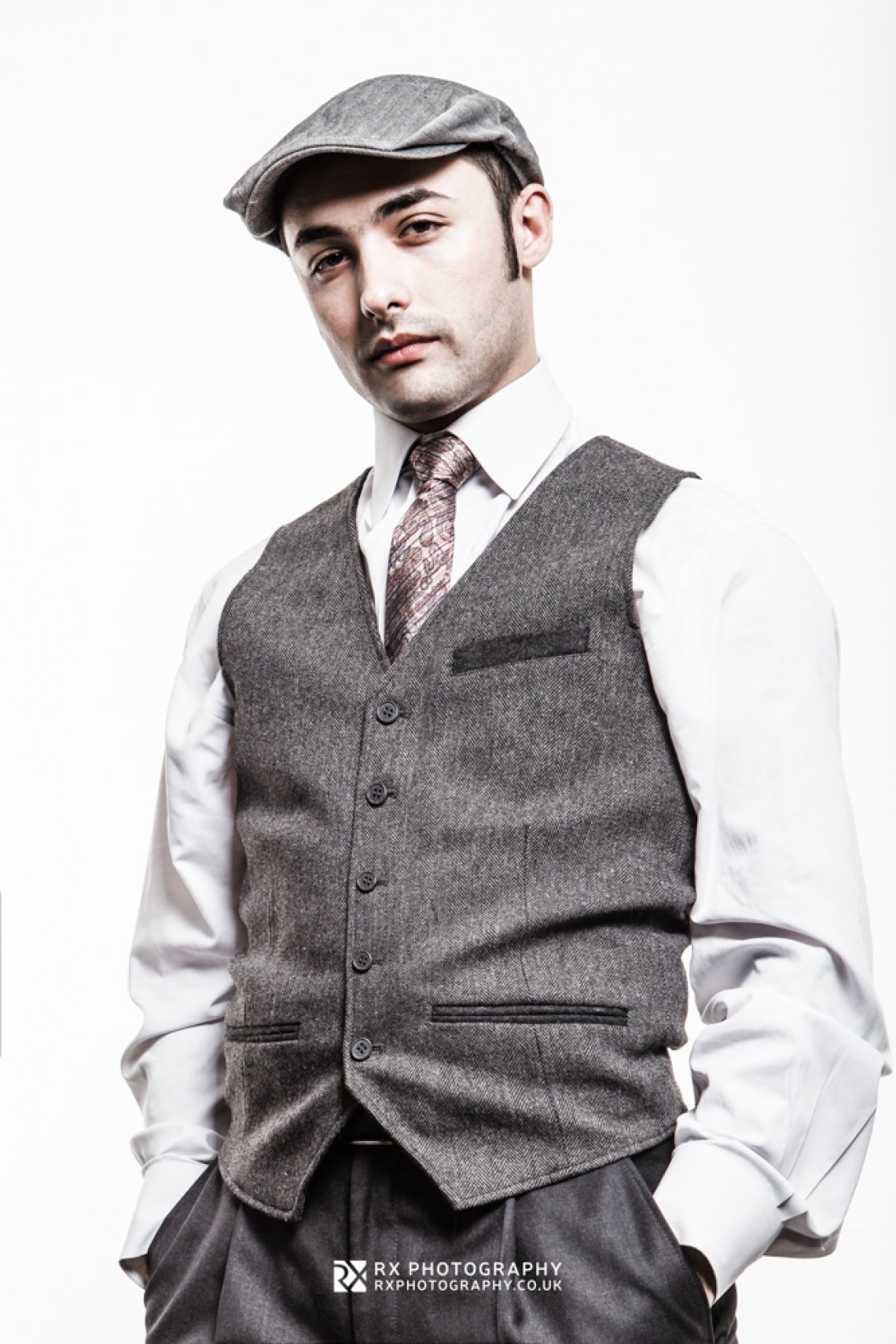 RX Photography portrait creative photo of young italian man in stylish clothes